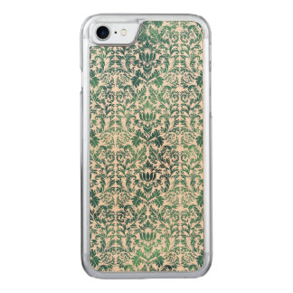 Steampunk Green Damask Distressed Floral Victorian Carved iPhone 7 Case