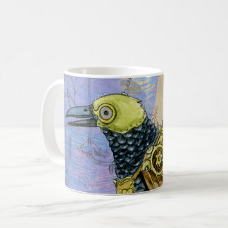 Steampunk Grunge Drawing of Mechanical Bird Coffee Mug