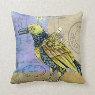 Steampunk Grunge Drawing of Mechanical Bird Cushion