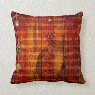Steampunk Grunge Orange Rusty Theme Accent Pillow
