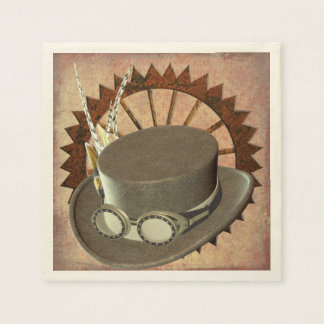 Steampunk Hat & Gear Napkins Disposable Serviette