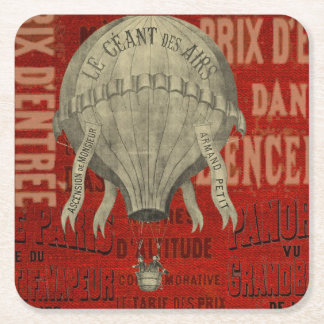 Steampunk Hot Air Ballon Ride Graphic Fonts in Red Square Paper Coaster