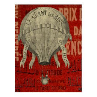 Steampunk Hot Air Ballon Ride Graphic Fonts Postcard