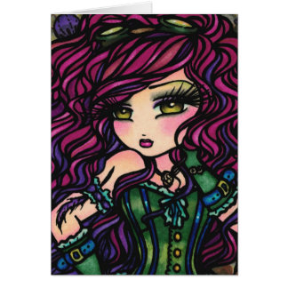 Steampunk Hot Air Balloon Girl Fantasy Art Card