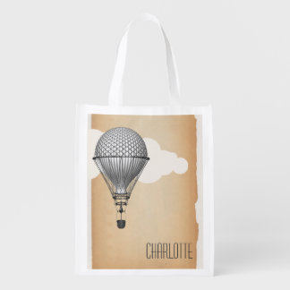 Steampunk Hot Air Balloon Reusable Grocery Bag