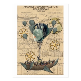 Steampunk Hot Air Balloon Ship Postcard