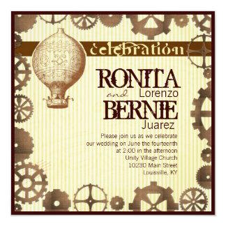 """Steampunk hot air balloon wedding template 5.25"""" square invitation card"""
