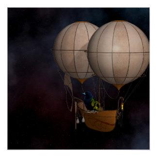 Steampunk Hot air Baloon Poster