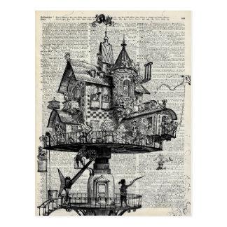 Steampunk house postcard