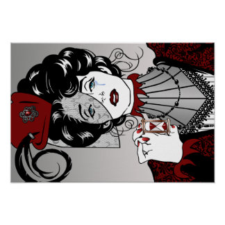 Steampunk Illustration Victorian Lady Poster