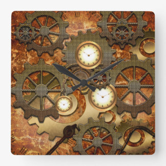 Steampunk in golden colours square wall clock