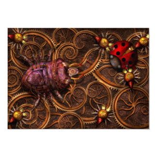 "Steampunk - Insect - Itsy bitsy spiders 5"" X 7"" Invitation Card"