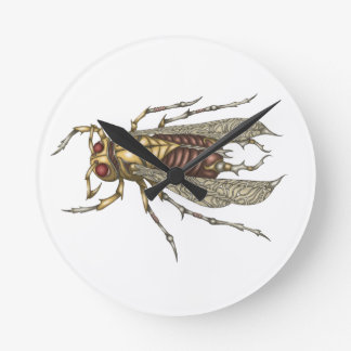 Steampunk Insect Round Clock