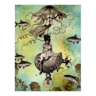 Steampunk Jellyfish Postcard