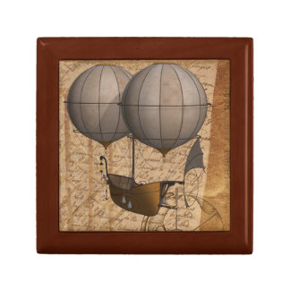 Steampunk Jewelry Box w. Double Balloon Airship