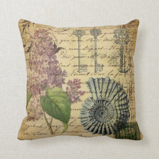 steampunk keys french botanical purple lilac cushion