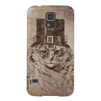 Steampunk Kitty Cat in Top Hat, Gears, Pocketwatch Galaxy S5 Cases