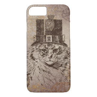 Steampunk Kitty Cat in Top Hat, Gears, Pocketwatch iPhone 7 Case