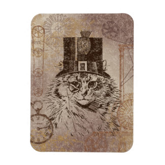 Steampunk Kitty Cat in Top Hat, Gears, Pocketwatch Magnet
