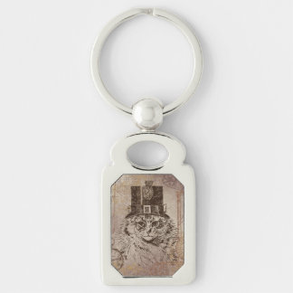 Steampunk Kitty Cat in Top Hat, Gears, Pocketwatch Silver-Colored Rectangle Key Ring