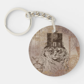 Steampunk Kitty Cat in Top Hat, Gears, Pocketwatch Single-Sided Round Acrylic Key Ring