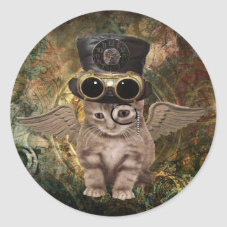Steampunk Kitty Classic Round Sticker