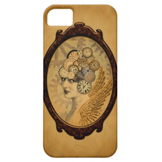 Steampunk Lady, Wings and Clock Faces iPhone 5 Cover