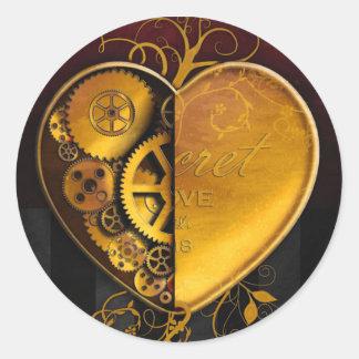 Steampunk Locket Heart Classic Round Sticker
