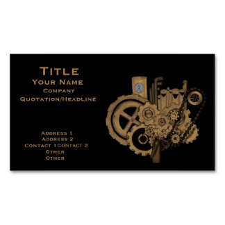 Steampunk Machinery (Brassy) Magnetic Business Cards