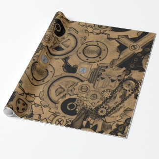 Steampunk Machinery (Brassy) Wrapping Paper