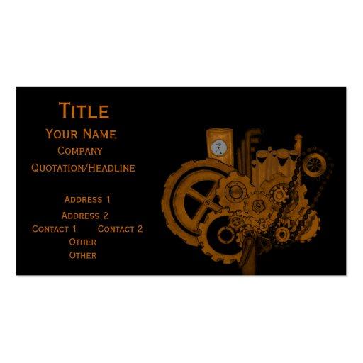 Steampunk Machinery (Copper) Business Card Template