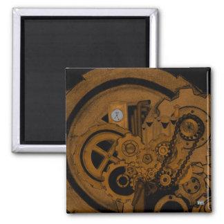 Steampunk Machinery (Copper) Square Magnet