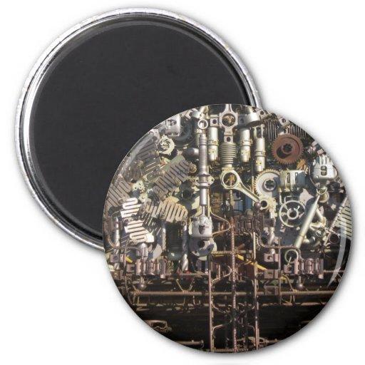 Steampunk machinery refrigerator magnets