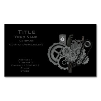 Steampunk Machinery (Monochrome) Magnetic Business Cards