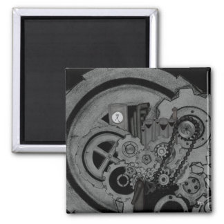 Steampunk Machinery (Monochrome) Square Magnet