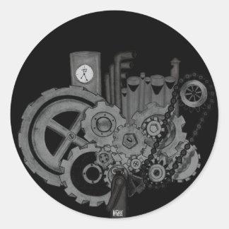 Steampunk Machinery (Monochrome) Round Sticker