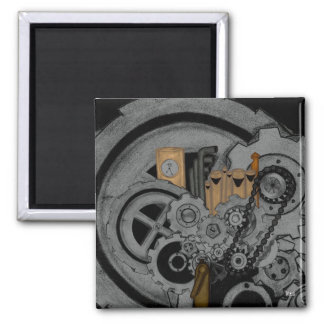 Steampunk Machinery Square Magnet