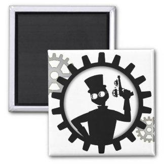 Steampunk Man Holding Gun in Gear Fridge Magnets