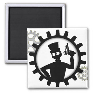 Steampunk Man Holding Gun in Gear Square Magnet