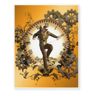 Steampunk, man on a clock