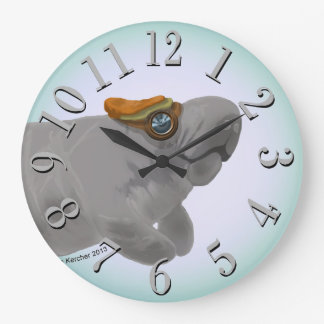 Steampunk Manatee Large Numbers Round Wall Clock