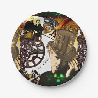 Steampunk Marie Curie Paper Plate