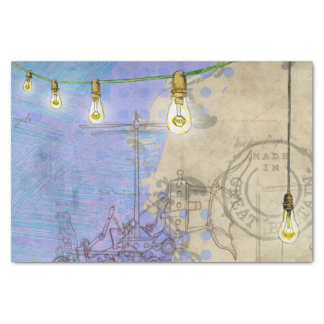 Steampunk Mechanical Edison Light Bulb Architect Tissue Paper