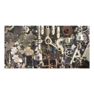Steampunk mechanical machinery machines personalised photo card