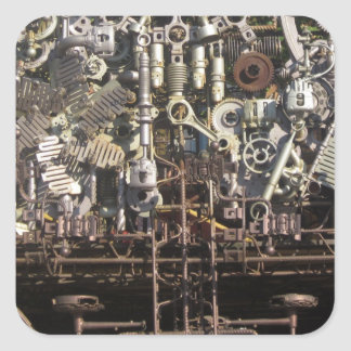 Steampunk mechanical machinery machines square sticker