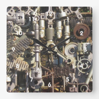 Steampunk mechanical machinery machines square wall clock
