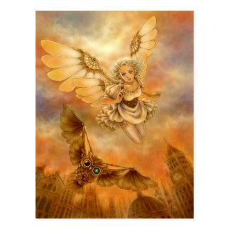 Steampunk Mechanical Owl Fantasy Art Postcard