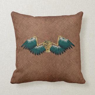 Steampunk Mechanical Wings Brown Cushion