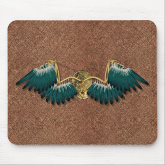 Steampunk Mechanical Wings Brown Mouse Pad