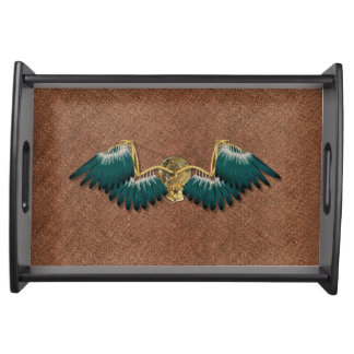 Steampunk Mechanical Wings Brown Serving Tray